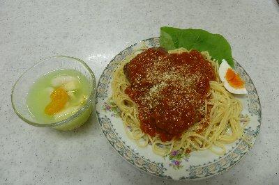 今回挑戦したハンバーグスパゲティーとフルーツポンチ