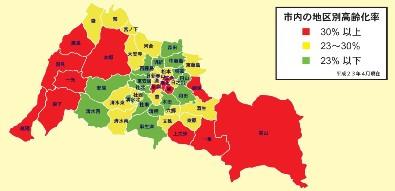福井市内高齢化率の図 平成23年4月1日現在